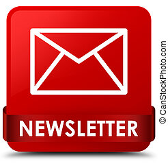 Newsletter red square button red ribbon in middle