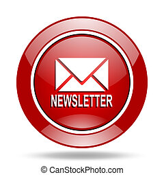 newsletter red web glossy round icon