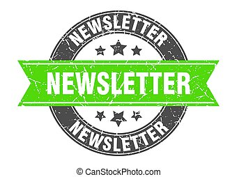 newsletter round stamp with green ribbon. newsletter