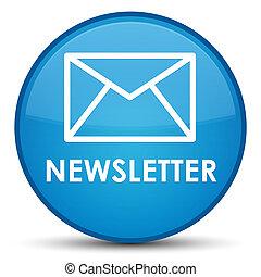 Newsletter special cyan blue round button