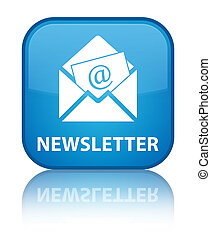 Newsletter special cyan blue square button