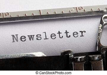Newsletter written on an old typewriter