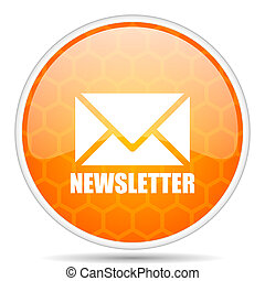 Newsletter web icon. Round orange glossy internet button for webdesign.