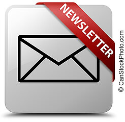 Newsletter white square button red ribbon in corner