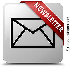 Newsletter white square button red ribbon in corner