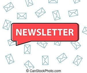 newsletter written in speech bubble  vector illustration