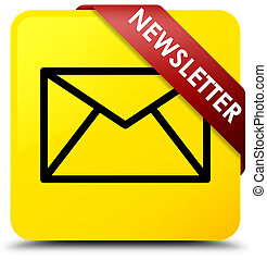 Newsletter yellow square button red ribbon in corner