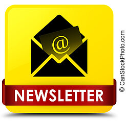 Newsletter yellow square button red ribbon in middle