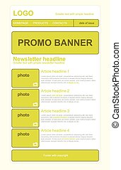 Newsletter yellow template with business style