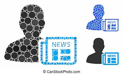 Newsmaker newspaper Composition Icon of Round Dots - ...