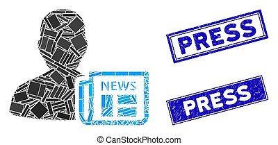 Newsmaker Newspaper Mosaic and Distress Rectangle Press ...