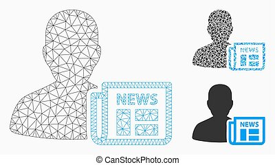 Newsmaker Newspaper Vector Mesh Carcass Model and Triangle ...