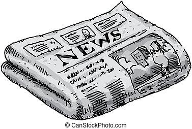 A cartoon newspaper reporting events.