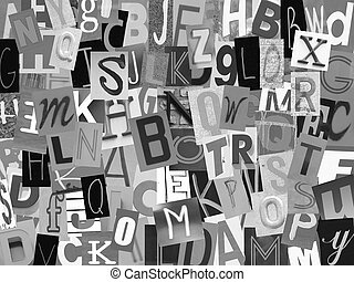 Newspaper alphabet cut out on white backgroud