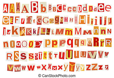 Newspaper alphabet - Newspaper, magazine alphabet. Selected...