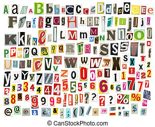 Newspaper alphabet with letters, numbers and symbols. ...