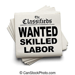Newspaper Classifieds with Wanted Skilled Labor Headline Isolated on White Background.