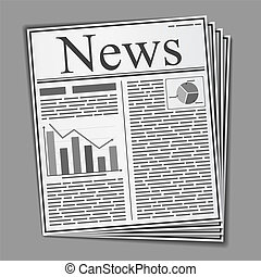 Newspaper - Abstract newspaper with text and graphs on the...