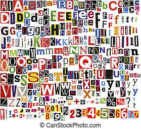 Newspaper clippings alphabet - Big size newspaper, magazine...