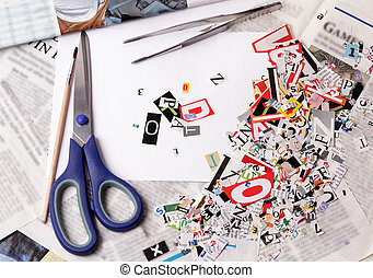 Newspaper clippings alphabet with letters