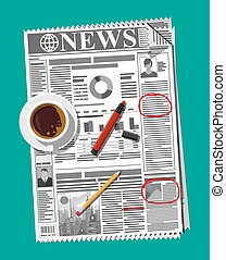 Newspaper, cup of coffee, pencil.