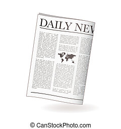 Newspaper daily - Newspaper icon for daily news with world...