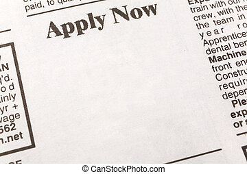 Apply Now - newspaper employment ad, Apply Now, Employment...
