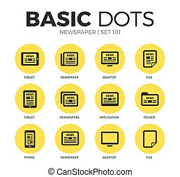 Newspaper flat icons vector set