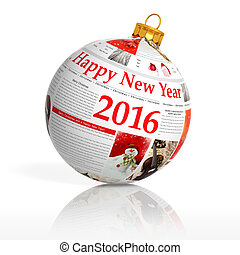 Newspaper happy new year 2016 ball on white background
