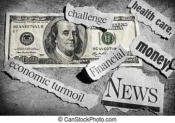 bad news - newspaper headlines showing bad news, and money