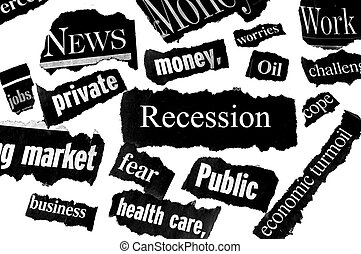 newspaper headlines showing bad news, recession related