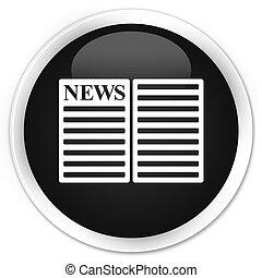 Newspaper icon black glossy round button