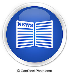 Newspaper icon blue glossy round button