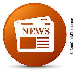 Newspaper icon brown round button