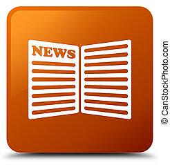 Newspaper icon brown square button