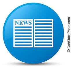 Newspaper icon cyan blue round button