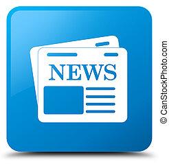 Newspaper icon cyan blue square button