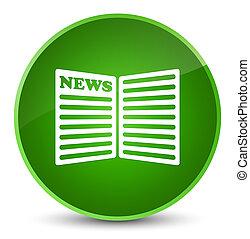 Newspaper icon elegant green round button