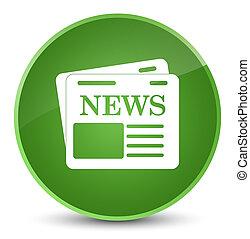 Newspaper icon elegant soft green round button