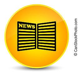 Newspaper icon elegant yellow round button