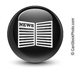 Newspaper icon glassy black round button