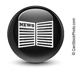 Newspaper icon glassy black round button