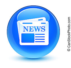 Newspaper icon glassy cyan blue round button