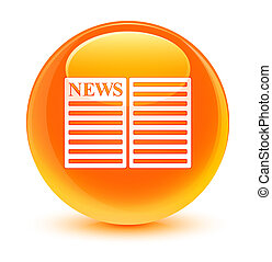 Newspaper icon glassy orange round button