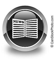 Newspaper icon glossy black round button