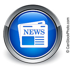 Newspaper icon glossy blue button
