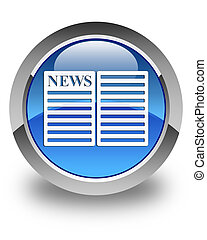 Newspaper icon glossy blue round button 2