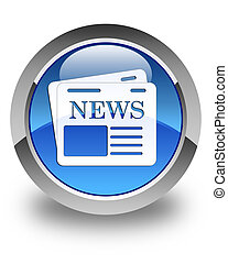 Newspaper icon glossy blue round button 3