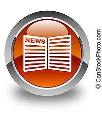 Newspaper icon glossy brown round button