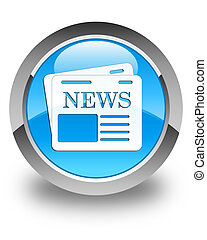 Newspaper icon glossy cyan blue round button